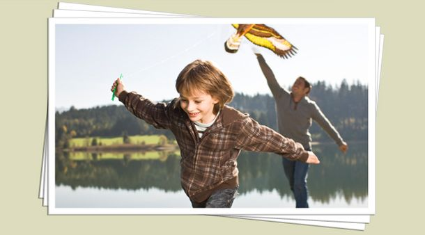 Boy flying kite